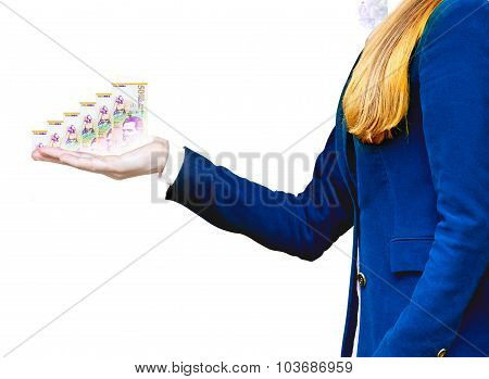 A business women holding a money bill symbolizing financial relationships poster