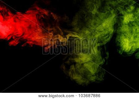 Abstract Red And Green Smoke Hookah On A Black Background.