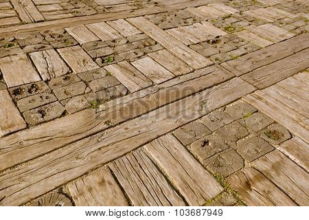 Wooden floor in village Drvengrad Mecavnik - Serbia - architecture travel background poster