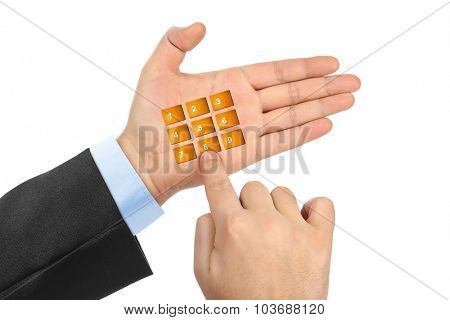 Hand with virtual phone buttons isolated on white background