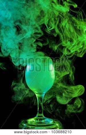 Green Smoke In The Glass. Halloween.
