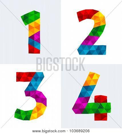 Rainbow Polygonal Numbers 1-4