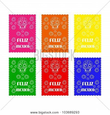 set colored poster paper in traditional Mexican style and patterns for backgrounds skulls, celebrati