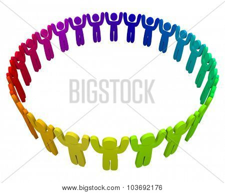 Many colorful, different or diverse people in a ring with arms up symbolizing peace, coexistence and appreciation of diversity