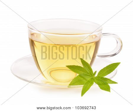 Lemon Verbena Tea And Leaves Isolated.