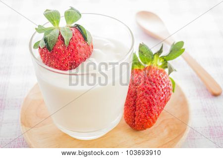 Glass Of Yogurt With Fresh Strawberry