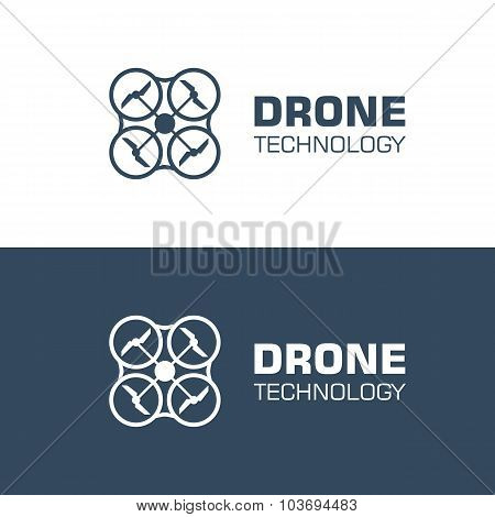 drone quadcopter logo template. isolated on white background. vector illustration poster