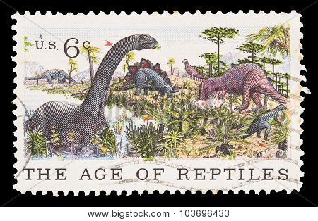 United States Postage Stamp Showing The Age Of Reptiles, Dinosaurs