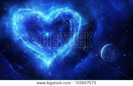 Illustration of a blue supernova in heart shape with planets and stars