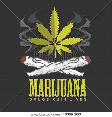 Cross drug and marijuana. Vector emblem.