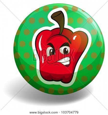 Red bellpepper on green badge illustration