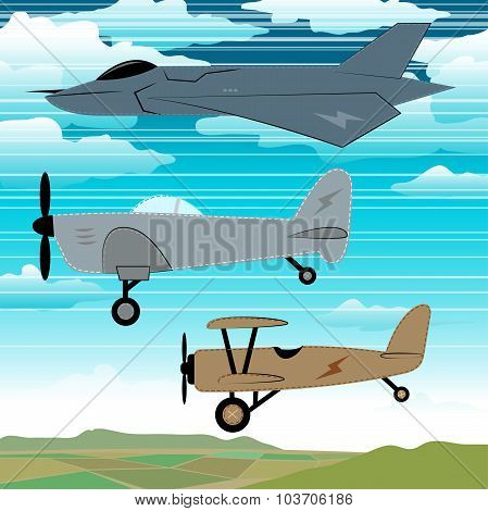 3 Military Planes Flying Together With Clouds Embroidery