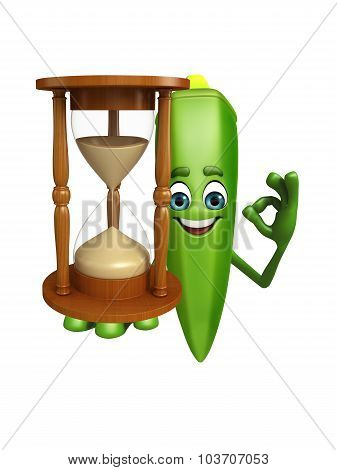 Cartoon Character Of Ladyfinger With Sand Clock