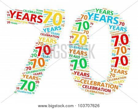 Colorful word cloud for celebrating a 70 year birthday or anniversary