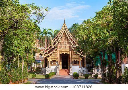 Wihan Lai Kham At Wat Phra Singh, Chiang Mai, Thailand