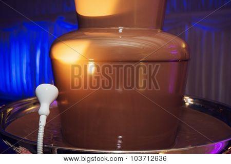 Fountain With Sweet Liquid Chocolate