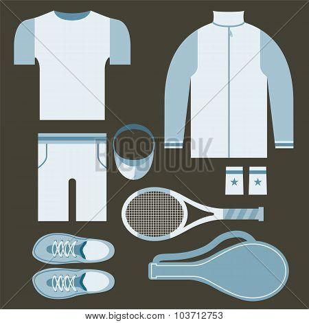 Top View Tennis Men's Gears Vector Illustration.