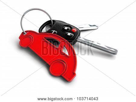 Car Keys With Orange Passenger Vehicle Icon As Keyring.