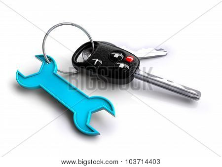 Car Keys With Blue Spanner Icon As Keyring. Car Service And Repair.