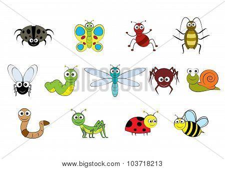 Vector Cartoon-style Mini Beasts Illustration