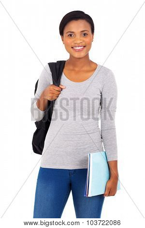 attractive young african american university student isolated on white background