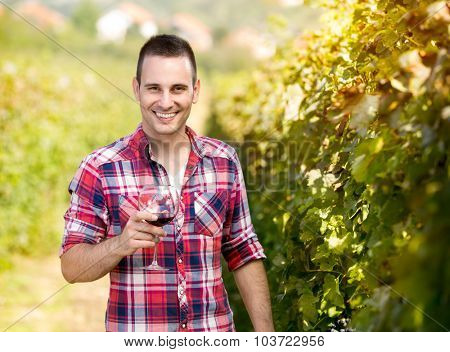 young male winegrower with glass of wine