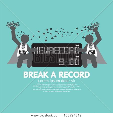 The Athletes With Break A Record Banner Vector Illustration.