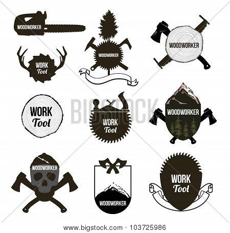 Set of vintage carpentry tools, icons, labels, logo.