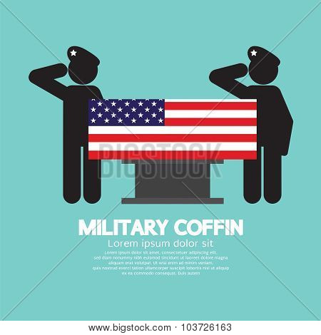 Military Coffin Funeral Vector Illustration.