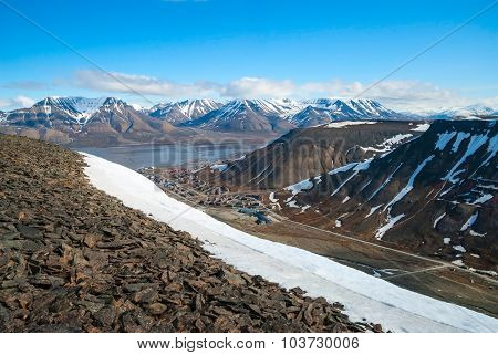 View To Longyearbyen From The Hills Above, Svalbard