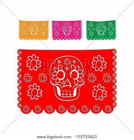 sticker paper in traditional Mexican style and patterns for backgrounds skulls, celebrations, day of