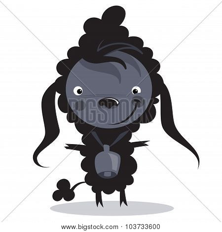 Baby Funny Cartoon Bad Black Sheep With A Big Bell