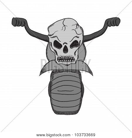 hand drawing motorcycles with a skull in the style of cartoons, Tattoo, icons, bikers, backgrounds a