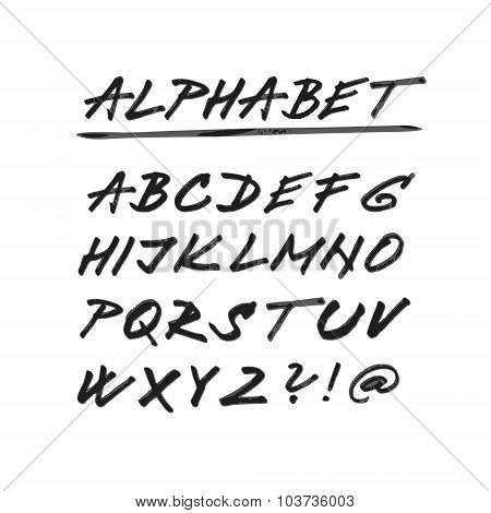 Hand Drawn Vector Alphabet, Font, Isolated Upper Case Letters
