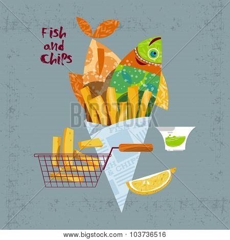 Fish And Chips. British Fast-food.