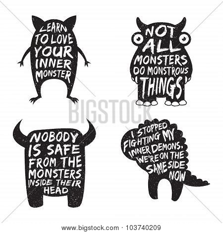 Set Of Monster Typography Posters And Quotes