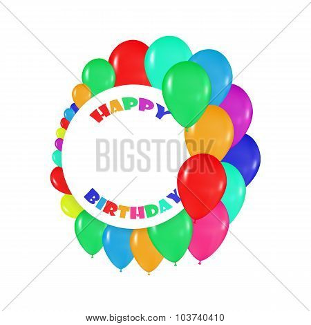 round frames of colorful balloons in the style of realism. to design cards, birthdays, weddings, fie