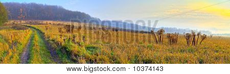 Panoramic Rural Landscape With Sunrise Light