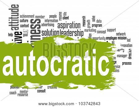Autocratic Word Cloud With Green Banner