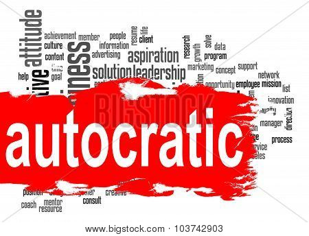Autocratic Word Cloud With Red Banner
