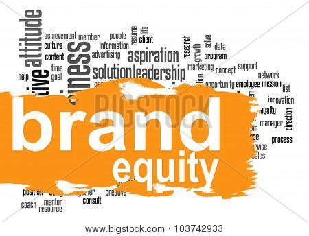 Brand equity word cloud with orange banner image with hi-res rendered artwork that could be used for any graphic design. poster