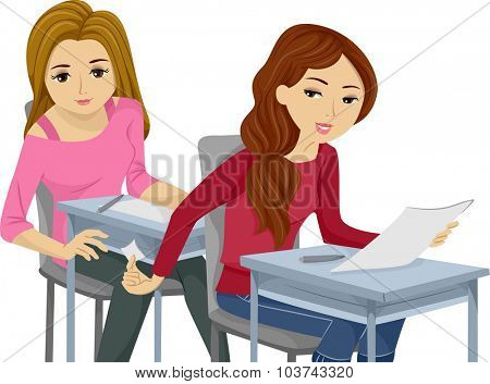 Illustration of Teenage Girls Cheating on an Exam