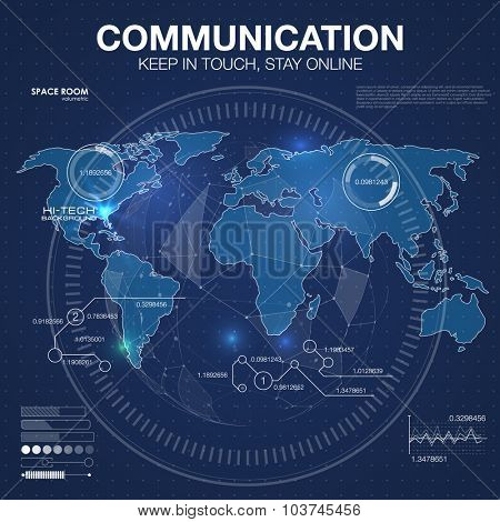Polygonal world map. Global travel geography and connect, continent and planet, vector illustration. Communication concept in HUD style. For infographic elements, futuristic user interface HUD