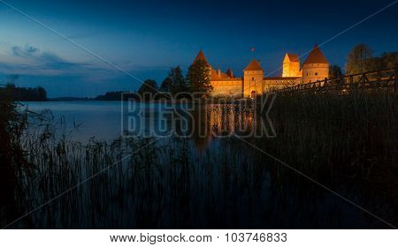 Old castle in sunset time. Trakai, Lithuania.