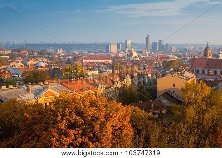 Vilnius autumn panorama. Lithuania.