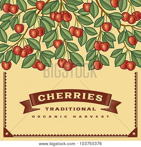 Retro cherry harvest card, Editable vector illustration with clipping mask.