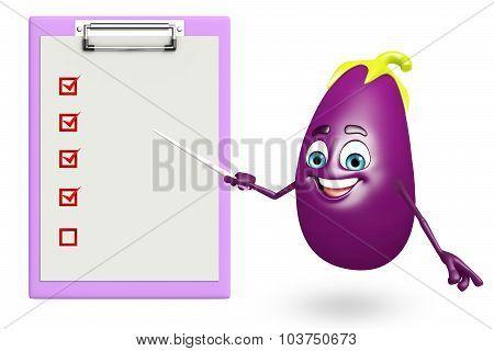 Cartoon Character Of  Brinjal Fruit