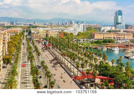 Aerial view over Passeig de Colom or Columbus avenue,  La Barceloneta and Port Vell marina  from Christopher Columbus monument  in Barcelona, Catalonia, Spain poster