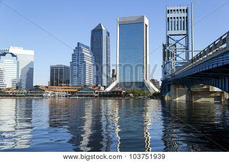 Jacksonville Florida Skyline And Bridge
