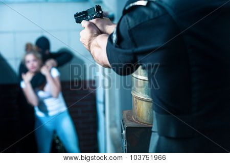 Aiming To The Criminal